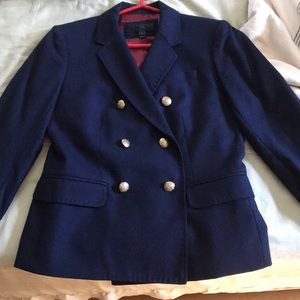 J.crew navy double breasted blazer wool